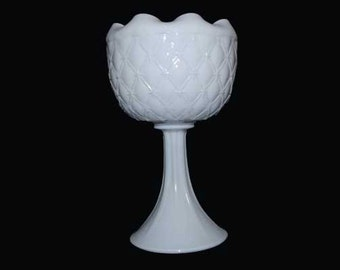 Milk Glass Vase /Candle Holder /Candy Dish /Planter. Duette or Diamond Quilted. BUY 1 OR 2. Vintage. 5022