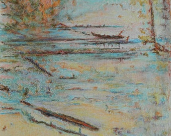 """Art Original Abstract Landscape With Frame Dry and Oil Pastel Drawing Lake Water Quebec Canada By Jacques By Jacques Audet """" Summer Dream """""""