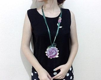 Antique Flower embellished Long necklaces, textille necklaces, fiber necklaces, long neck accessories