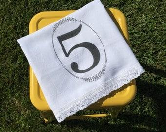 Monogram, Shabby Chic, Cottage, Farmhouse, FLour Sack, Tea Towel (Croched Cotton Lace #)