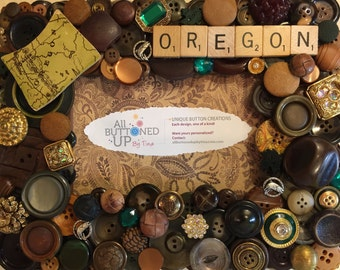OREGON Button Frame In Browns ~Gift for Oregonian ~ Rustic Home Decor ~ Gift for Her ~ Gift for Him ~ Memory Frame ~ for 4x6 photo