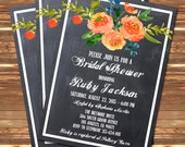 Floral Bridal Shower Wedding Invitation Chalkboard Printable Navy Blue Orange Peach - Stick to Your Story