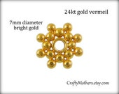 SET OF 10 pieces, 7mm Bali 24kt Gold Vermeil Flower Spacer Beads, artisan-made, bridal accessories, earrings, necklace