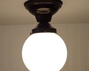 Winterport II. Blown Milkglass Globe CEILING LIGHT