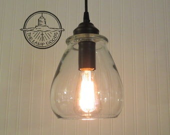 Verona. Glass PENDANT Light with Edison Bulb