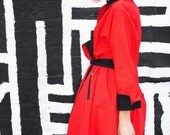 Vtg. 80s PAULINE TRIGÈRE Red and Black Reversible Belted Swing Coat with Belt and Zipper Pockets - Avant Garde - Near Mint Condition - S M L