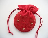 Jewelry Pouch Red Felt  Drawstring Bag with Hand Bead Embroidery and Swirls Handsewn