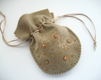 Jewelry Pouch Light Brown Felt Gift Bag with Hand Bead Embroidery Swirls and Dots Handsewn