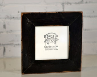 """6x6"""" Handmade Square Picture Frame in 2.25"""" wide Rustic Reclaimed Pine with Finish Color of YOUR CHOICE - Upcycled Reclaimed Wood 6x6 Frame"""