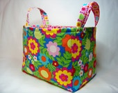 PK Fabric Basket in Simple Mixed Floral in Blue - Tribeca Collection - Storage Basket - Diaper Caddy - Ready To Ship - Reversible