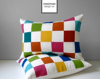 INVENTORY SALE - Colorful Pillow Cover, Modern Nursery Pillow Case, Bright Blue Green Yellow Pink, Decorative Color Block Sunbrella Cushion