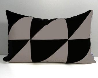 Geometric Outdoor Pillow Cover, Decorative Black & Taupe Pillow Cover, Color Block Pillow Cover, Masculine Sunbrella Cushion Cover Mazizmuse