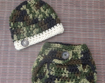 Camouflage Diaper Cover Set - Newborn  Baby Beanie Cap With Band And Button - Hand Crocheted