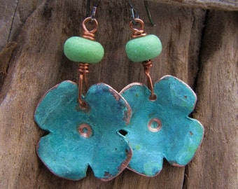 Copper Earrings Copper Jewelry Green Lampwork Beads