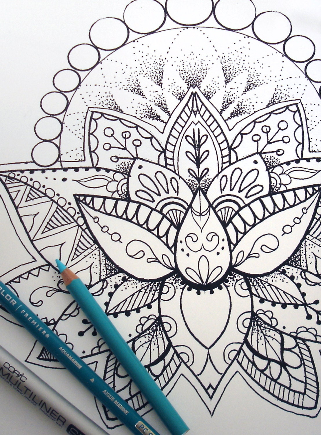 Lotus flower coloring page instant download print your own for Flower adult coloring pages