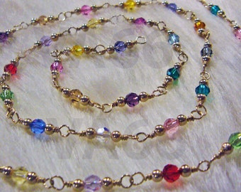 """Custom Made Necklace 14K Gold Swarovski Crystals Round Wire Wrapped Necklace Multi Color 4mm Crystals Bridal Lariat 18"""" Bridesmaid Mother"""