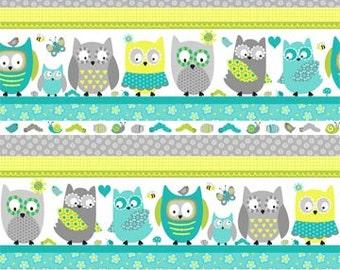 Whooo Loves You Northcott Owls Owl Stripe Stripes Line Up Aqua Blue Green Fabric