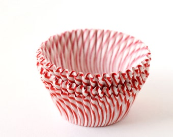 Red Stripe Cupcake Liners, Red Circus Stripe Liners, Holiday Cupcake Liners, Red Striped Baking Cups (50)