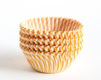 100 Mini Yellow Stripe Cupcake Liners, Striped Yellow Mini Baking Cups