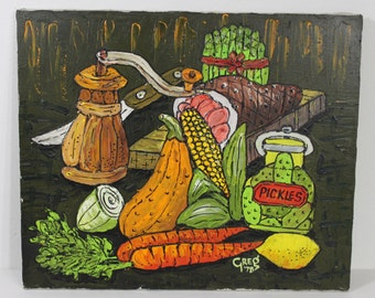 Vintage Mid Century Modern Signed 1970's Food Feast Painting Kitchen Decoration