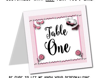 Table Number Cards, Food Labeling Cards, Bachelorette Party, Bridal Shower, Lingerie Party,Pink Stripes and Polka Dots, Sexy Lingerie
