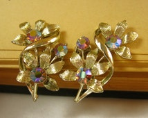 Vintage Rhinestone Flower Earrings, Gold Flower Earrings, Rhinestone Earrings, Aurora Borealis Earrings, Coro Jewelry, Coro Designer Jewelry