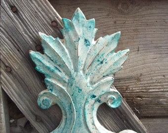 Candle Sconces Creamy White Painted Beach House Decor Painted Vintage Shabby French Set of 2 Splash of Turquoise