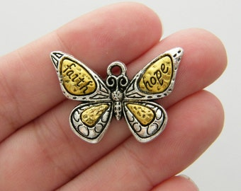 2 Butterfly charms antique silver tone A333