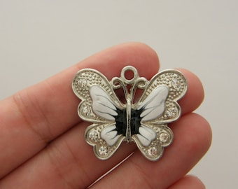 2 Butterfly charms antique silver tone A327