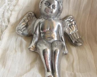Metal Angel Sitter Figurine / Home decor/ Whimsical/Babies Room