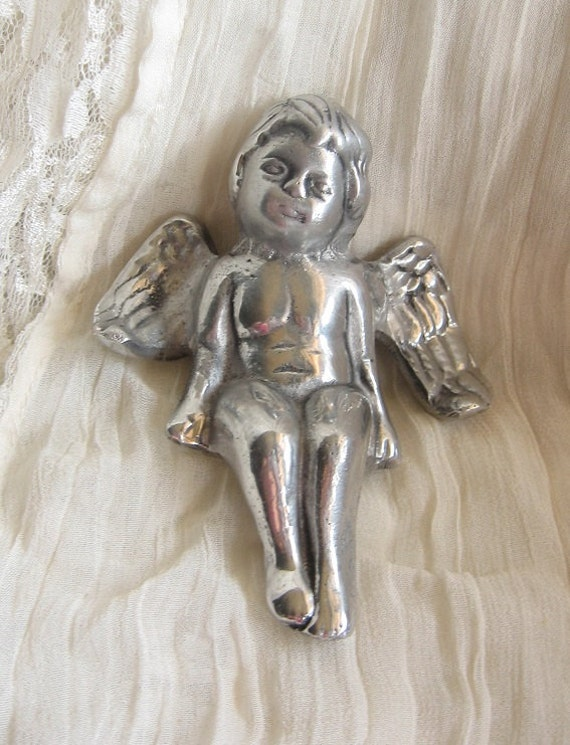 Metal Angel Sitter Figurine Home Decor Whimsical Babies