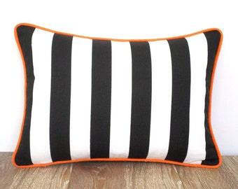 Black stripe pillow cover for office decor, color block lumbar pillow orange and black, cabana stripe lumbar case modern minimalist,