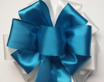 Wedding Pew Bows Turquoise Blue Satin Wired Ribbon over White Acetate Satin Ribbon Hand Tied