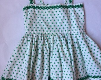 HEARTS BABY or DOLL Dress Green on White w ric rac