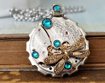 TIME TRAVELER  steampunk antique Elgin pocket watch movement necklace with dragonfly charm