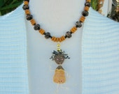 Dancing Caribbean Girl Doll, poly doll, wood, lucite & glass beads, from the Doll Series, necklace set by SandraDesigns