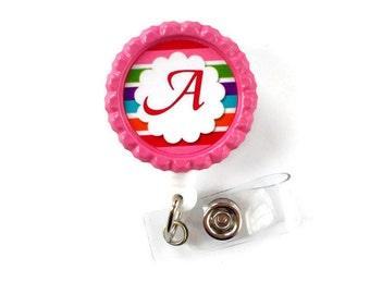 Rainbow Initial - Retractable ID Badge Reel - Badge Holder - Personal Badge Clip - Teacher Badge - Nurse Badge Reel - Nursing Badge Holder