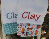 Personalized burp cloth set, baby boy burp cloth, monogrammed burp cloth, personalized burp cloth, baby shower gift set