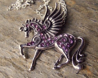 Equestrian Jewelry Pegasus Necklace Light Purple Girls Horse Necklace