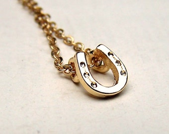 Gold Horse Shoe Necklace Girls Horse Jewelry Lucky Necklace Gold Equestrian Jewelry
