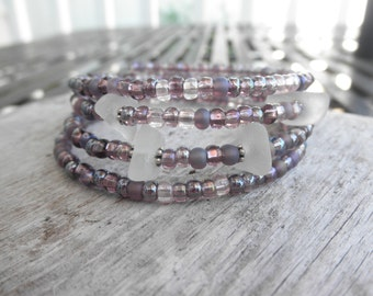 Lavender Bead and Glass Bracelet Lake Erie Ohio