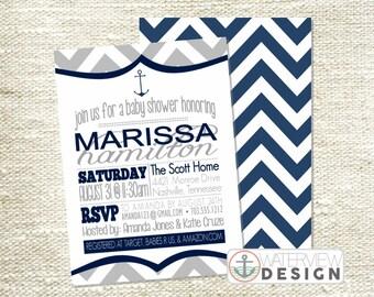 nautical baby shower invite // diy printable invitation