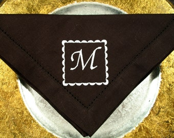 4 Napkins Monogrammed in the Scalloped Square Design