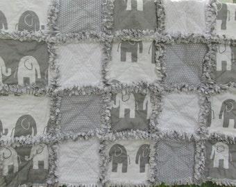 Baby girl rag quilt, baby boy rag quilt, elephant, polka dot, gray, minky, shabby chic