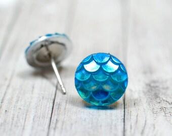 Teal Mermaid Earrings, Blue Green Mermaid Tail or Dragon Scales, Whimsical Fantasy Waterwaif Jewelry
