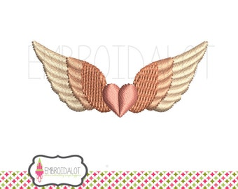 Angel wings embroidery design with heart. 3 mini sizes! Pretty design for tiny spots. Angel machine embroidery with heart. Heart embroidery