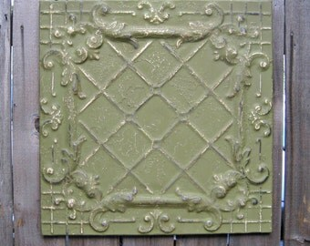 Tin Ceiling Tile. 2'x2' Circa 1910.  FRAMED & Ready to Hang.  Architectural salvage from Nebraska.
