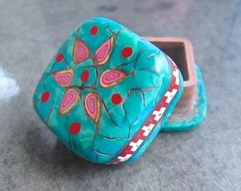 Pill Box, Turquoise Box, Keepsake Box, Pill Case, Polymer Clay Pillbox, Handmade Box, Gift Box, Custom Pillbox, Square Box, Pill Container
