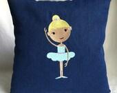 """Ballerina 12""""x12"""" pillow, embroidered on soft dark denim"""