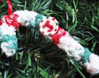 Personalized Crocheted Candycane Christmas Tree Ornament Monogram Initial J Handpainted Wooden Holiday Decoration By Distinctly Daisy
